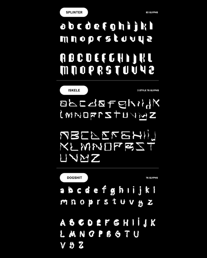3 fonts: Splinter, Dogshit, Iskele 1