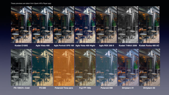 29 Film Color LUTs for Spark AR 4