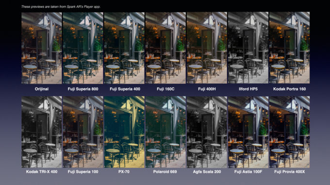 29 Film Color LUTs for Spark AR 3