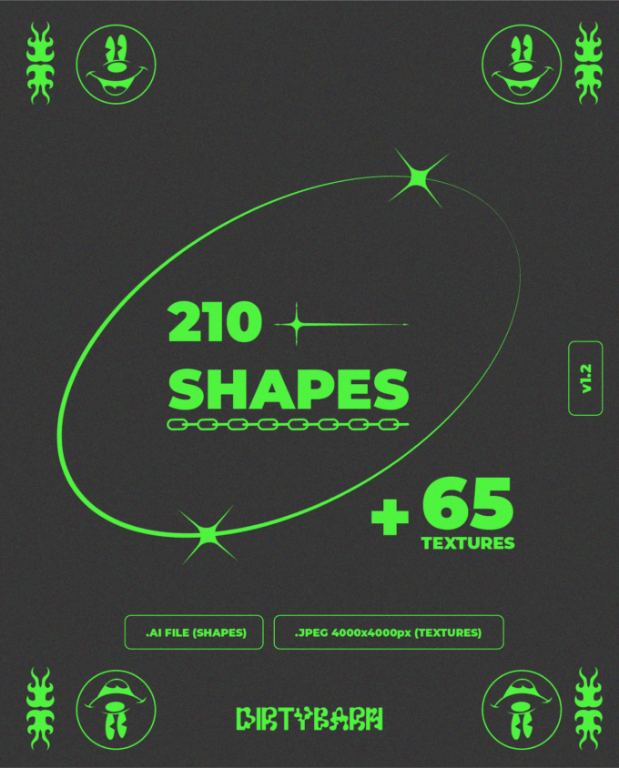 Design Elements Pack: 210 Shapes, 65 Textures 1