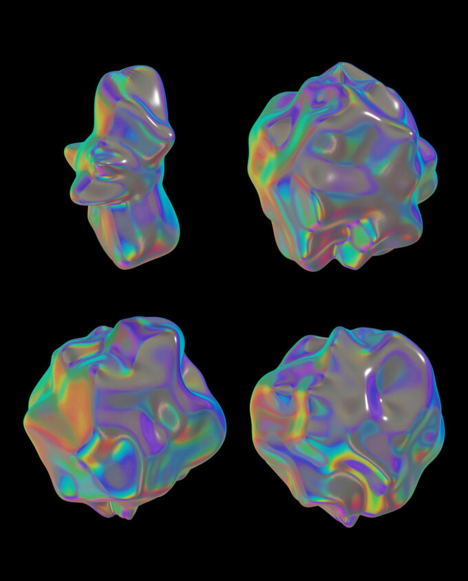 Holographic Materials Pack 9 Videos + 30 PNGs + 8 Background 3